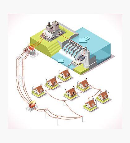 Energy Hydroelectric Power Isometric Photographic Print
