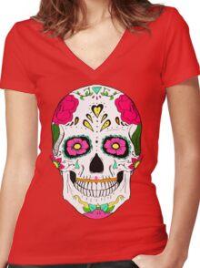 Skull Diamond Women's Fitted V-Neck T-Shirt