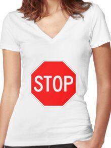 STOP original sign sticker Women's Fitted V-Neck T-Shirt