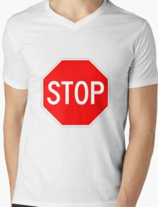 STOP original sign sticker Mens V-Neck T-Shirt