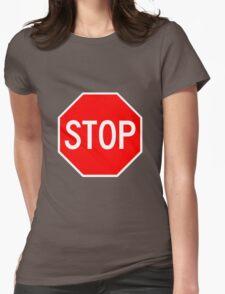 STOP original sign sticker Womens Fitted T-Shirt
