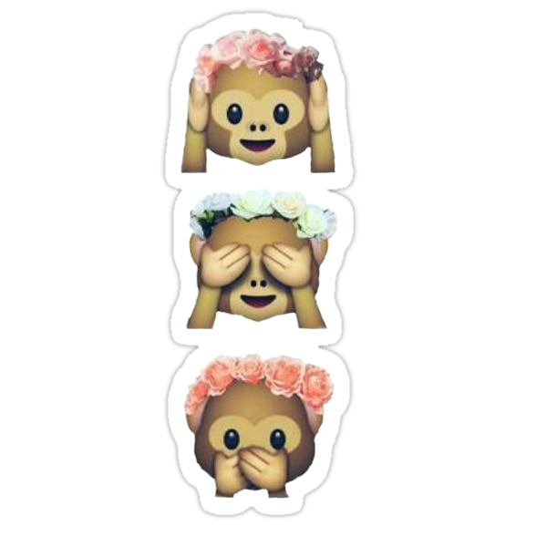 see no evil monkey emoji hipster flower crown tumblr sticker von alyciathefox redbubble. Black Bedroom Furniture Sets. Home Design Ideas