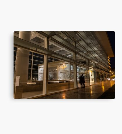 The Marvels of Rome - Admiring Ara Pacis at Night Canvas Print