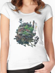Howl's moving castle 8-bit <3 Women's Fitted Scoop T-Shirt