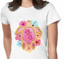 Pink Honu And Hibiscus Womens Fitted T-Shirt