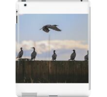 Cormorants on an old pier, with on trying to find it's spot iPad Case/Skin