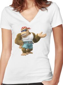 Funky Kong, Donkey Kong Women's Fitted V-Neck T-Shirt