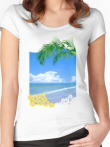 Beach And Palm Trees Women's Fitted Scoop T-Shirt