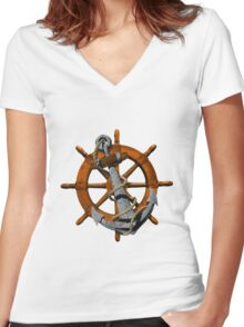 Captain's Wheel And Anchor Women's Fitted V-Neck T-Shirt