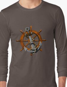 Captain's Wheel And Anchor Long Sleeve T-Shirt