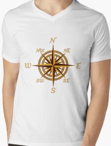 Vintage Compass Rose Mens V-Neck T-Shirt