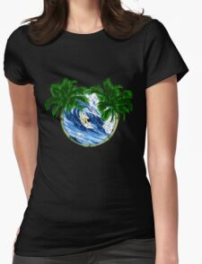 Surfer And Palm Trees Womens Fitted T-Shirt