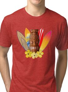 Surfboards And Tikis Tri-blend T-Shirt