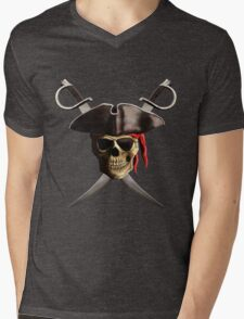 Pirate Skull Mens V-Neck T-Shirt