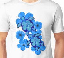 Blue Hibiscus and Honu Turtles Unisex T-Shirt