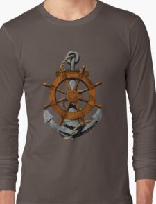Nautical Ships Wheel And Anchor Long Sleeve T-Shirt