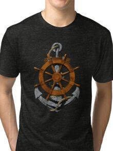 Nautical Ships Wheel And Anchor Tri-blend T-Shirt