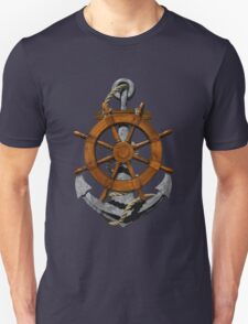 Nautical Ships Wheel And Anchor T-Shirt
