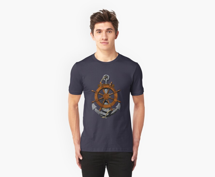 Nautical Ships Wheel And Anchor by BailoutIsland