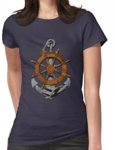 Nautical Ships Wheel And Anchor Womens Fitted T-Shirt