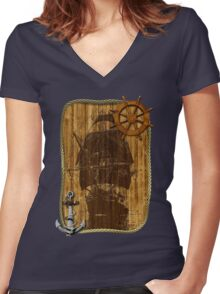 Old World Sailing Women's Fitted V-Neck T-Shirt