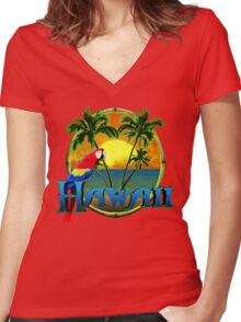 Hawaii Sunset Women's Fitted V-Neck T-Shirt