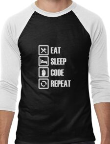 EAT SLEEP CODE REPEAT Men's Baseball ¾ T-Shirt