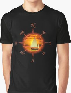 Sailboat And Compass Graphic T-Shirt