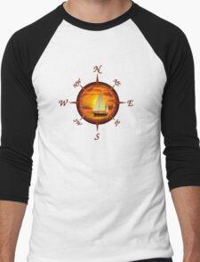 Sailboat And Compass Men's Baseball ¾ T-Shirt