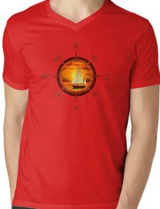Sailboat And Compass Mens V-Neck T-Shirt