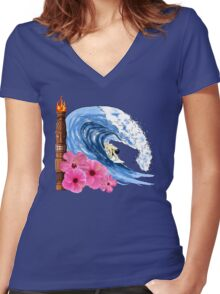 Hawaiian Surfing Women's Fitted V-Neck T-Shirt