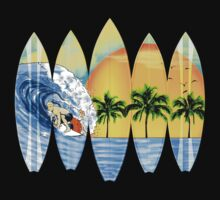 Surfer And Surfboards Kids Tee