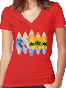 Surfer And Surfboards Women's Fitted V-Neck T-Shirt