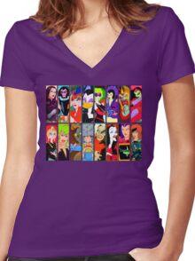 80s Girls Totally Radical Cartoon Spectacular!!! - BAD GIRLS EDITION! Women's Fitted V-Neck T-Shirt
