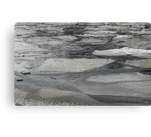blocks of ice on frozen river Canvas Print