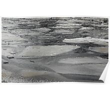 blocks of ice on frozen river Poster
