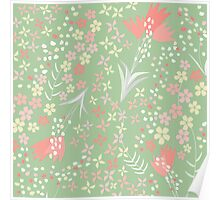 Spring Flowers Green Poster