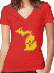 New Mexico flag Michigan outline Women's Fitted V-Neck T-Shirt