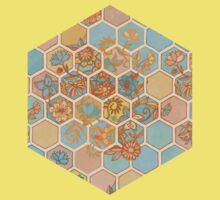 Golden Honeycomb Tangle - hexagon doodle in peach, blue, mint & cream Baby Tee