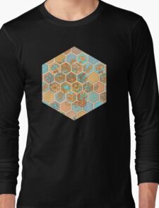 Golden Honeycomb Tangle - hexagon doodle in peach, blue, mint & cream Long Sleeve T-Shirt
