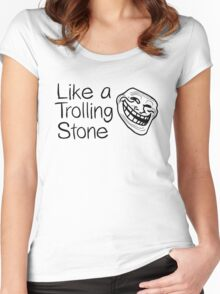 Rock Lyrics Music Rolling Stone Dylan Funny Troll Women's Fitted Scoop T-Shirt