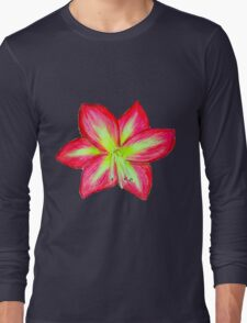 Pink Amaryllis Flower Long Sleeve T-Shirt