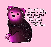 """""""You don't have to smile"""" Galaxy Bear Photographic Print"""