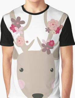 Cute Deer with Flowers  Graphic T-Shirt