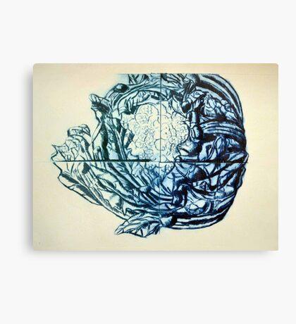 Califlower print (blue version) Canvas Print