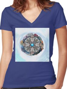 Small World In The Clouds Women's Fitted V-Neck T-Shirt