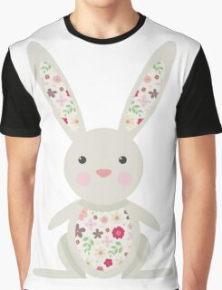 Cute Bunny with Flowers   Graphic T-Shirt