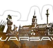 Warsaw skyline city brown Sticker