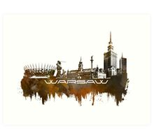 Warsaw skyline city brown Art Print