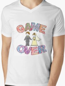 Funny wedding, Game Over. Mens V-Neck T-Shirt